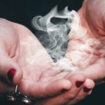smoke in woman's hand, alchemy, supernatural, and magic