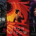 collage of three book covers: Dark and Shallow Lives; Iron Widow; and White Smoke