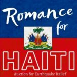 """Image of the Haiti Flag, with the logo for """"Romance for Haiti"""" auction on top."""