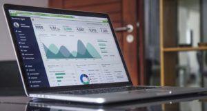 data visualization charts and analytics on laptop