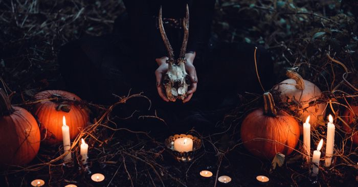 witch with pumpkins and skull
