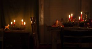 empty chair at christmas dinner table
