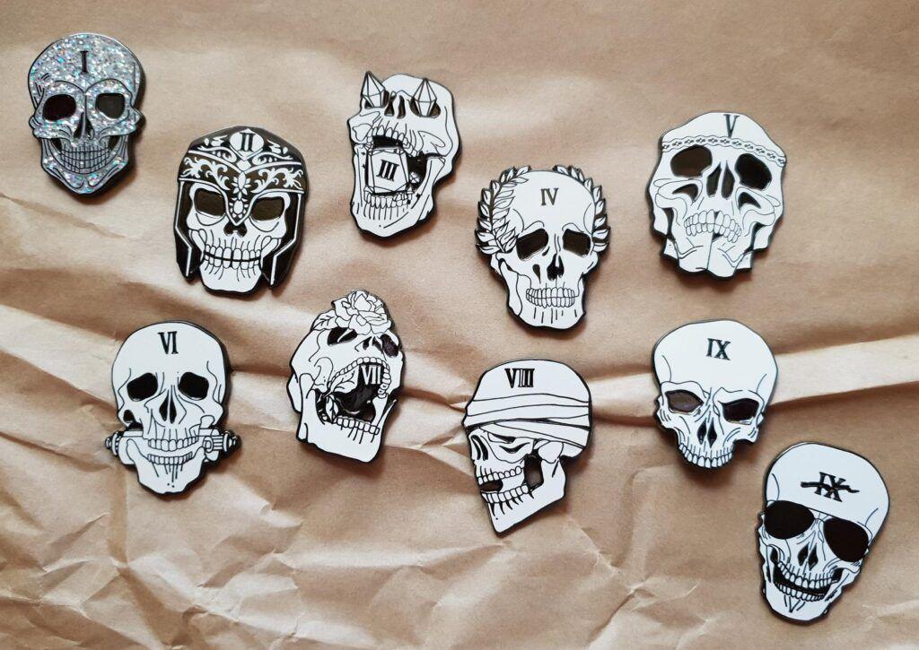The Locked Tomb house skull pins