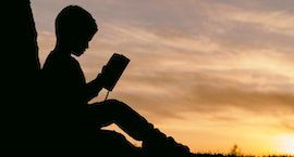 photo credit Aaron Burden. a photograph of a child reading outside, leaning against a tree, silhouetted against the setting sun