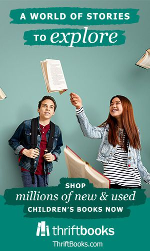 """two teenagers admiring several books suspended in midair. Text reads """"A world of stories to explore"""" and """"shop millions of new and used children's books now"""" and """"thrift books."""" Background is green."""