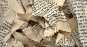 crumpled pages for banned books feature