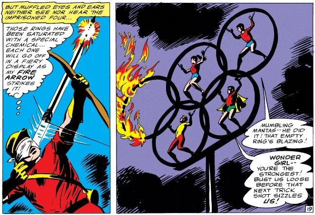 panel from Teen Titans #4; a blindfolded Speedy and the Teen Titans at the Olympics