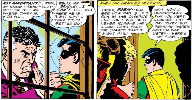 panel from Teen Titans #4; Robin being confronted by Ted Bradley