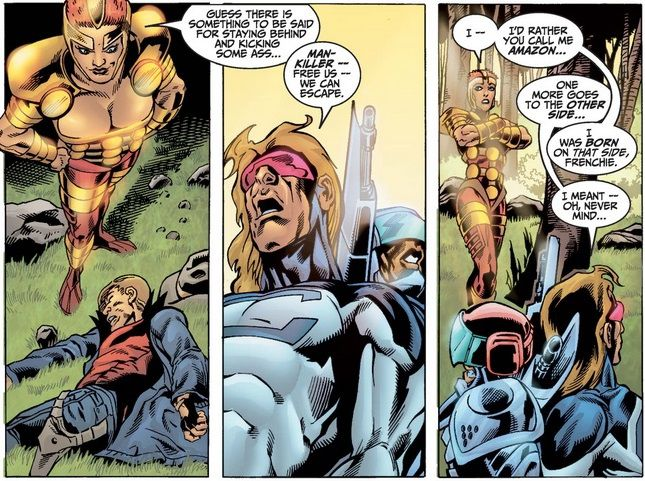 """From Thunderbolts #71. Amazon stands triumphant over the villains she beat up. One of the villains remarks that she has gone """"to the other side,"""" thinking she is now a hero. Amazon says she was """"born on that side,"""" meaning she is gay."""