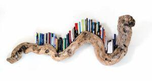 driftwood snake bookshelf feature