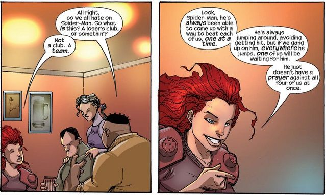 From Thunderbolts #80. Amazon sits in a bar with other B-list villains and suggests they team up against Spider-Man.