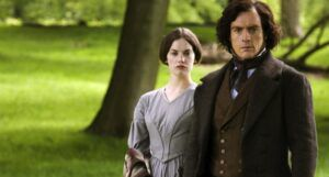 image of Toby Stephens and Ruth Wilson as Edward Rochester and Jane Eyre from 2006 tv series adaptation of Jane Eyre https://www.imdb.com/title/tt0780362/mediaviewer/rm3895148288/