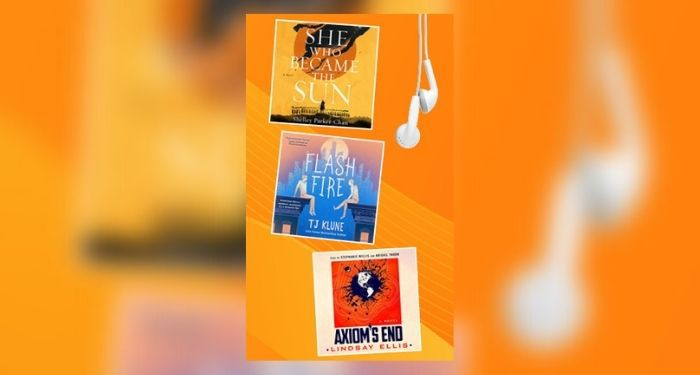 Three Macmillan Audio book covers on orange background with white earphones hanging on right