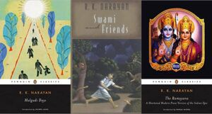 collage of three books by author RK Narayan