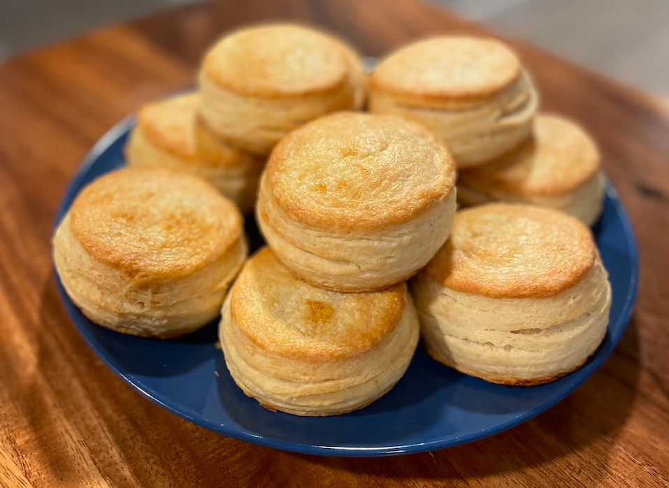 Image of buttermilk biscuits on a blue plate