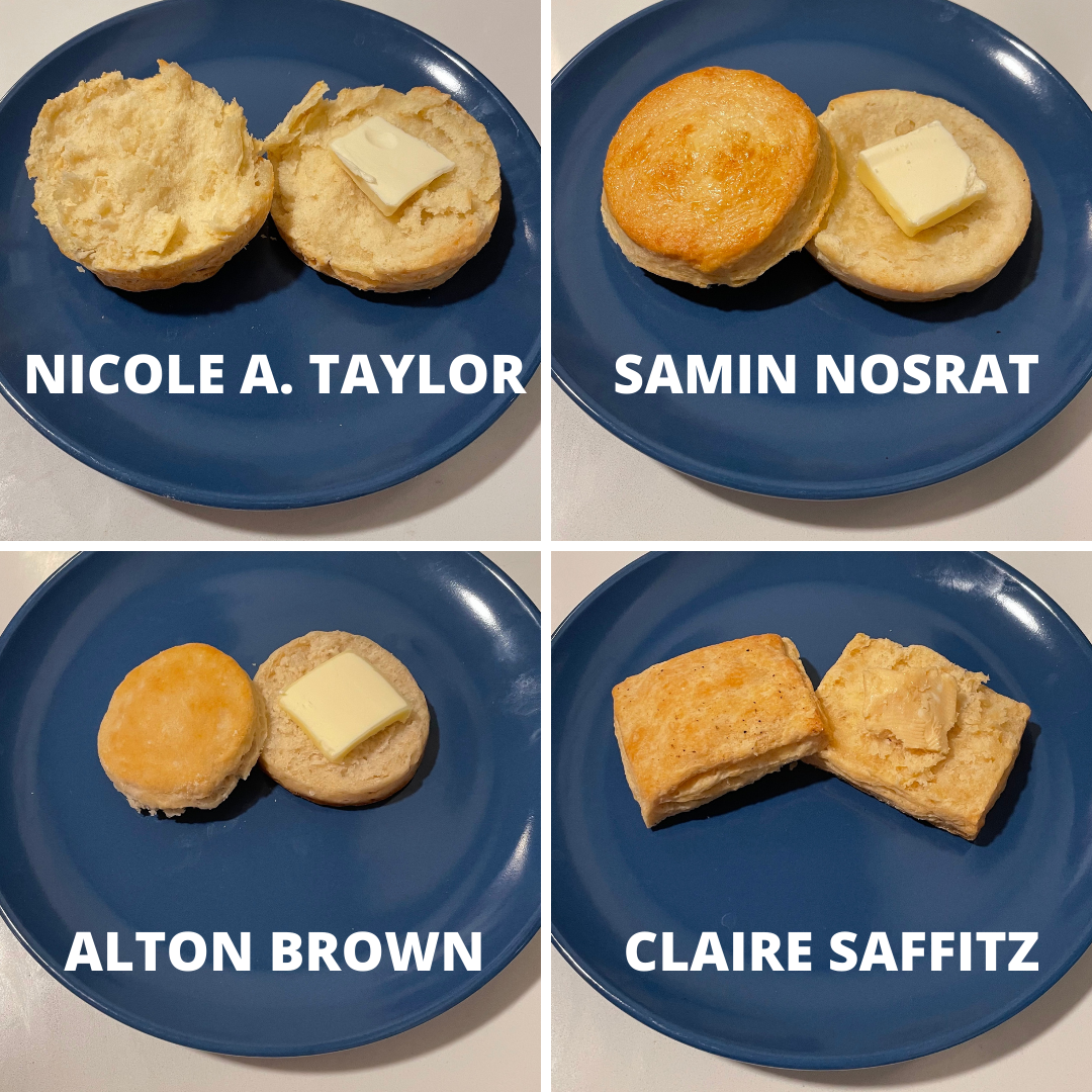 Four images edited together of different buttermilk biscuits on blue plates. The biscuits are marked with the name of each recipe's creator: Nicole A. Taylor, Samin Nosrat, Alton Brown, and Claire Saffitz.