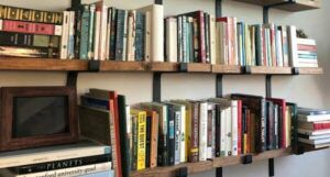 Image of floating wooden bookshelf
