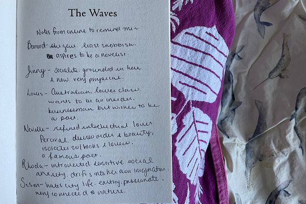 A close-up of a page of notes on the front page of The Waves by Virginia Woolf. It lists the main characters of the book and their main descriptors and attributes.