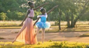 image of two African girls in ballet outfits