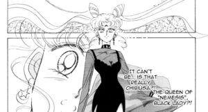 panel from Sailor Moon manga revealing Dark Lady as Chibiusa