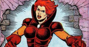 a cropped panel of Man-Killer, showing her posing angrily as if yelling