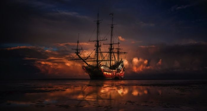 a pirate ship on the sea